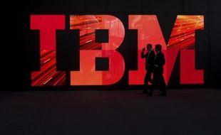 Le logo d'IBM au Salon CEBIT de Hanovre, le 28 février 2011