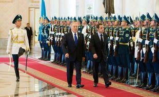 Nicolas Sarkozy et le président Kazakhstan Noursoultan Nazarbaïev le 6 octobre 2009, à Astana.