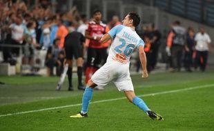 La joie de Florian Thauvin après son deuxième but.