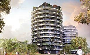 Les deux tours de la ZAC Madeleine à Rennes présentent une architecture très originale.