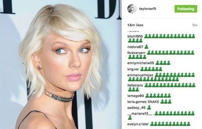 Capture d'écran d'une photo postée en juillet par Taylor Swift sur son compte Instagram et immédiatement submergée par l'icône du serpent.