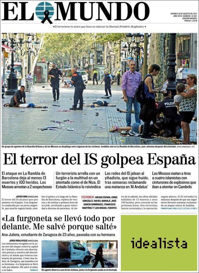 La une du quotidien espagnol «El Mundo» le 18 août 2017.