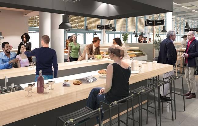 Vue intérieure des futures halles de Bacalan, qui accueilleront aussi un restaurant, en face de la Cité du Vin de Bordeaux