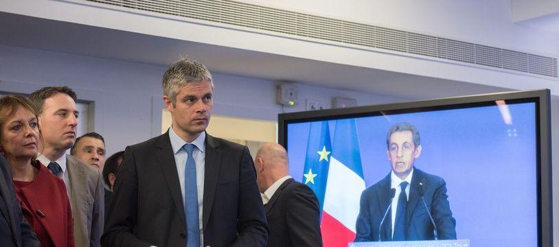 Laurent Wauquiez, devant l'allocution de Nicolas Sarkozy, le 29 mars 2015 à Paris.