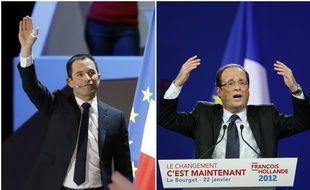 Benoît Hamon à Bercy/François Hollande au Bourget