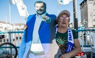 Une supprtrice de Matteo Salvini, lors d'un rassemblement de la Ligue à Cervia (Italie).Credit:Claudia Greco/AGF/SIPA