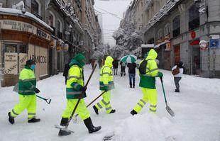 Madrid sous la neige, le 9 janvier 2021. Puerta del Sol