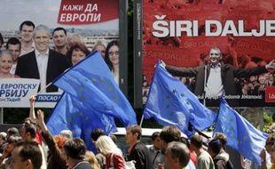 Manifestation pro-européenne à Belgrade, le 10 mai 2008, à la veille des élections.
