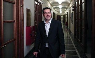Le Premier ministre Alexis Tsipras arrive le 21 février 2015 à une réunion au Parlement à Athènes