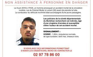 Appel à témoins concernant un accident de la route survenu le 9 juin 2019 à lorient