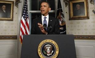 Le président américain Barack Obama lors de son discours après l'accord sur le budget fédéral, à la Maison Blanche, à Washington, le 9 avril 2011.