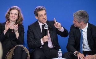 Nathalie Kosciusko-Morizet, Nicolas Sarkozy et Laurent Wauquiez de l'UMP, le 8 avril 2015 au siège de l'UMP.
