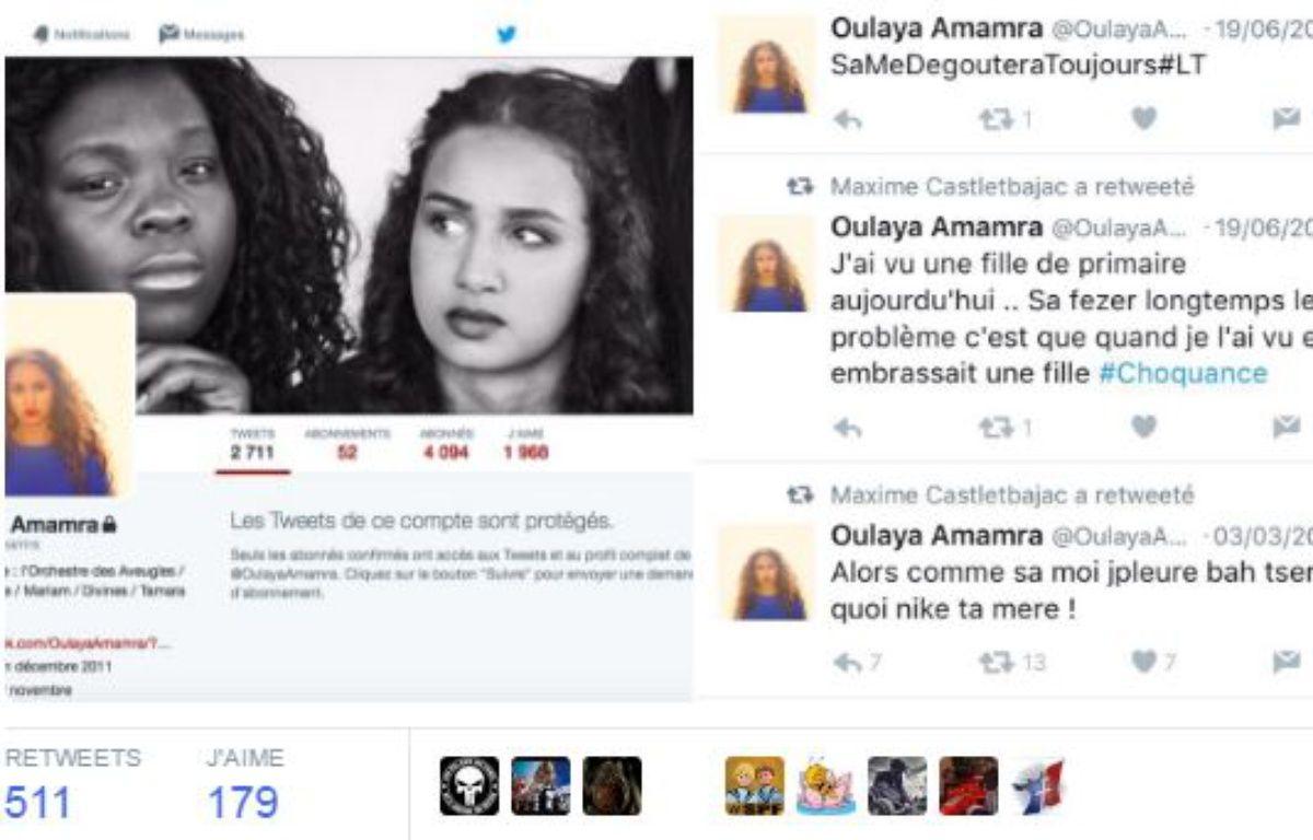 Les vieux tweets de Oulaya Amamra épinglés sur la toile – Capture Twitter