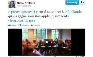 Capture d'écran d'un tweet de Safia Otokoré, mis en ligne avant 20h, le 6 mai 2012.