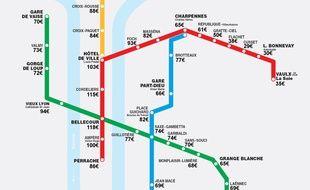 Luckey Homes publie un plan du métro de Lyon dans une version précisant les tarifs Airbnb moyens par quartier et donc station.