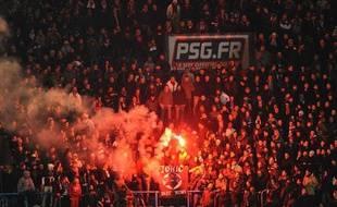 Une tribune des supporters du PSG au Parc des Prince.