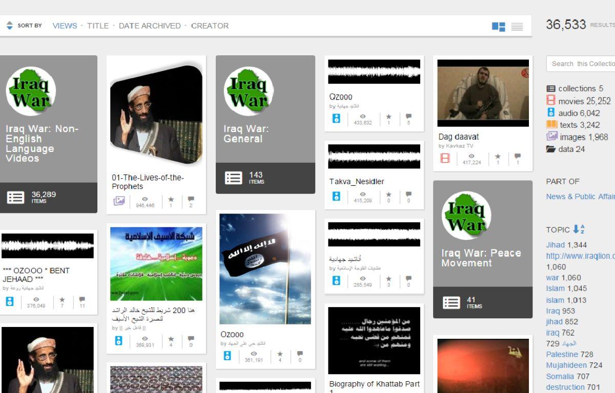 Capture d'écran du site archive.org qui héberge de nombreux contenus  djihadiste. – DR