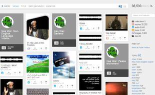 Capture d'écran du site archive.org qui héberge de nombreux contenus  djihadiste.