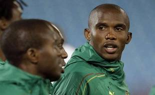 Le capitaine du Cameroun Samuel Eto'o et ses partenaires lors d'un entrainement le 18 juin 2010 à Pretoria en Afrique du Sud.
