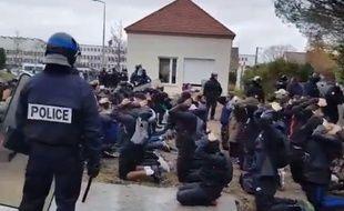 153 personnes, en majorité des lycéens, ont été arrêtées à Mantes-la-Jolie, le 6 décembre 2018 après des heurts avec la police.