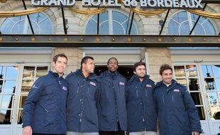 Richard Gasquet, Jo-Wilfried Tsonga, Monfils, Gilles Simon et le capitaine Arnaud Clément (de g. à d.) à Bordeaux, le 10 novembre 2014.