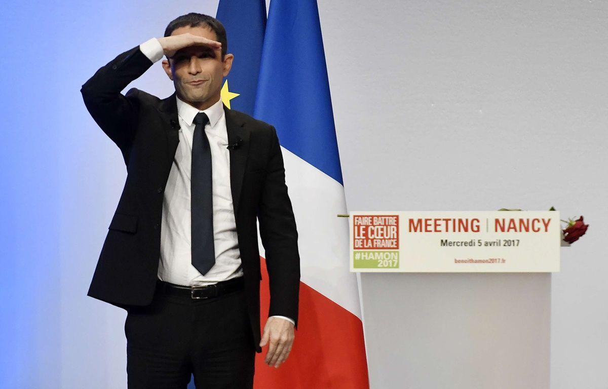 Benoit Hamon candidat a l'election presidentielle pour le parti socialiste en camapgne a Nancy et en meeting au Zenith de Nancy. Nancy, FRANCE -05/04/2017 –  EMILE POL/SIPA