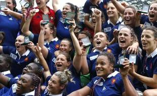 Vainqueur de l'Irlande (25-18), le XV de France s'est adjugé la 3e place de la Coupe du monde féminine de rugby, le 17 août 2014, à Paris.