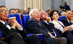 Pierre Laffitte aux côtés du maire d'Antibes et président de la communauté d'agglomération Sophia Antipolis, Jean Leonetti