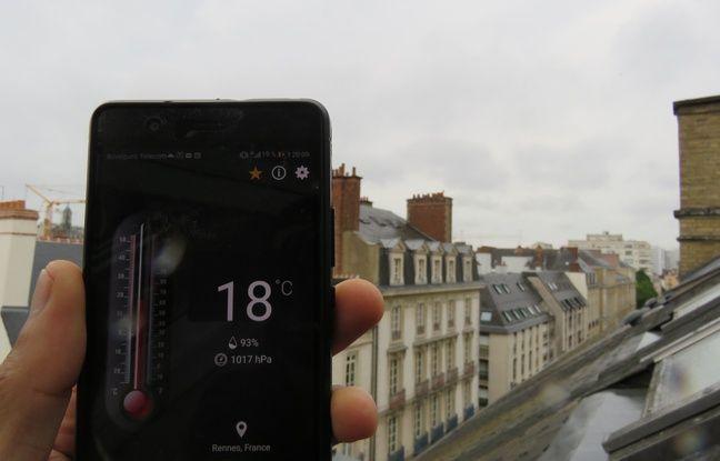Le ciel et la température à Rennes, le 24 juin 2019, jour de début de canicule un peu partout en France.