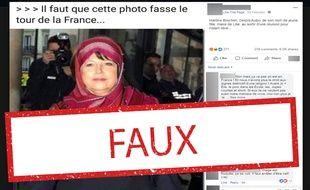 Cette image est un montage : Martine Aubry n'a jamais porté ce voile.