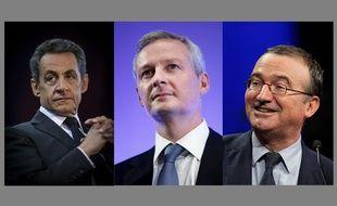 Les candidats à la présidence de l'UMP: Nicolas Sarkozy, Bruno Le Maire et Hervé Mariton.
