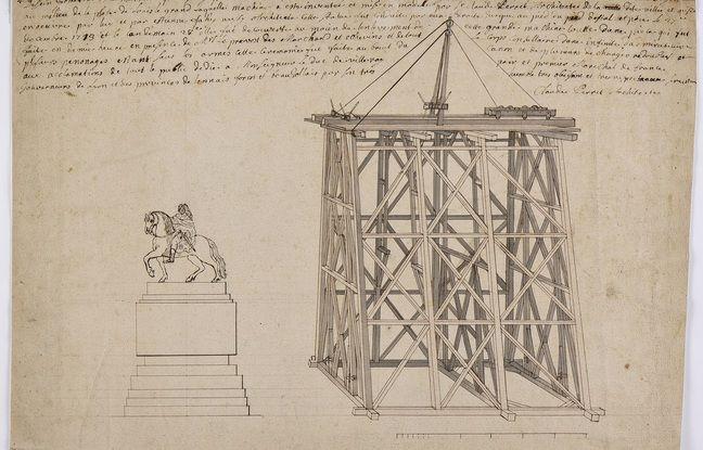 Le musée Gadagne de Lyon vient d'acquérir un croquis unique sur l'installation de la statue équestre de Louis XIV sur la place Bellecour de Lyon, en 1713.