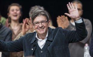 Jean-Muc Mélenchon, candidat France insoumise à la présidentielle, le  15 février 2017 en meeting à  Strasbourg