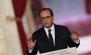Le président François Hollande, le 18 septembre 2014 lors de sa 4ème conférence de presse à Paris