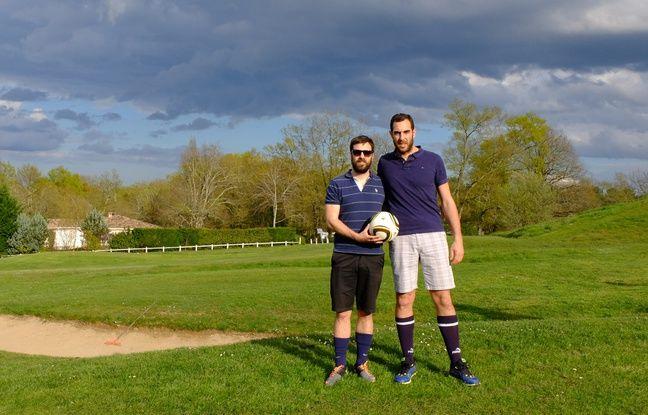Le duo représentant l'équipe de «20 Minutes» lors d'une compétition de footgolf disputée le 25 mars 2015 en Gironde.