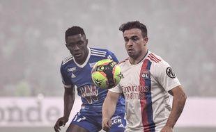 L'international suisse Xherdan Shaqiri s'est déjà montré essentiel, dimanche contre Strasbourg (3-1), pour ses premiers pas avec l'OL. JEFF PACHOUD