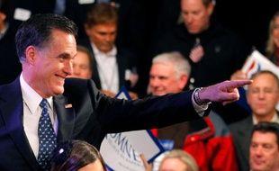 Le candidat Mitt Romney, après sa victoire dans la primaire du New Hampshire, le 10 janvier 2012.