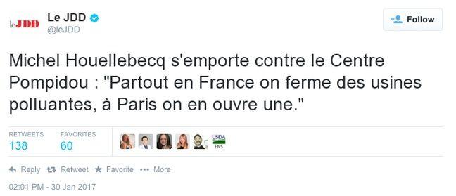 Michel Houellebecq aurait sans doute paraphrasé Barjavel à propos du Centre Pompidou