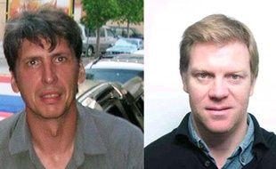 Photographie des deux journalistes français, Stéphane Taponier (G) et Hervé Ghesquière (D), otages en Afghanistan depuis le 29 décembre 2009, diffusée par France 3 le 13 avril 2010.