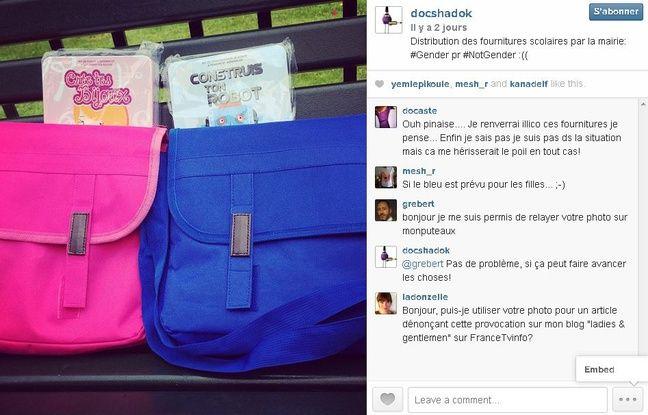 Capture d'écran du compte Docshadok sur Instagram, le 1er septembre 2014.