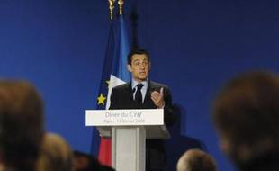 France's President Nicolas Sarkozy delivers a speech during the dinner with members of the Representative Council of France's Jewish Associations (CRIF) in Paris February 13, 2008.    REUTERS/Gonzalo Fuentes   (FRANCE)