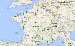 La carte des festivals où sont programmés Stromae (en jaune), Fauve (en bleu) ou les deux à la fois (en vert)