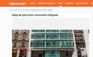 Capture d'écran du site Le bon coin, où a été publiée une annonce de mise en vente du siège LR.