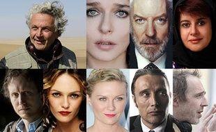Les jurés du Festival de Cannes : de g. à dr. de haut en bas : G. Miller, V. Golino, D. Sutherland, K. Shahabi, L. Nemes, V. Paradis, K. Dunst, M. Mikkelsen, A . Desplechin