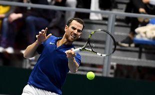 Adrian Mannarino face à Haase, lors du premier tour de la coupe Davis, le 4 février 2018.