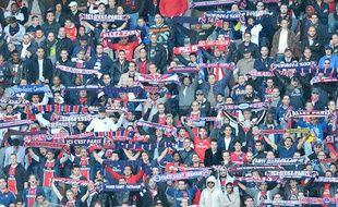 Les supporters du PSG, au Parc des Princes, lors d'un match contre Dijon, le 23 octobre 2011.