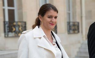 Marlène Schiappa, le 21 mars 2018 sur les marches du palais de l'Elysée.