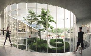 Vue d'architecte du futur conservatoire à rayonnement régional de Rennes, qui sera implanté au Blosne d'ici 2020.
