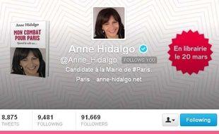 Capture d'écran du compte twitter d'Anne Hidalgo, le 29 mai 2013.