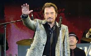 Johnny Hallyday lors d'un concert en 2014 au Palais Omnisports de Paris-Bercy.
